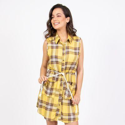 Vestido-Chemise-Amarelo-Amarracao-Frente