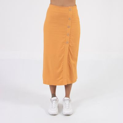 saia-midi-lady-rock-com-fenda-e-botoes-laranja-frente
