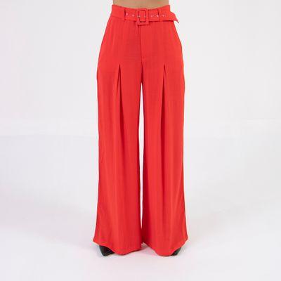 calca-pantalona-lady-rock-com-cinto-vermelha-frente