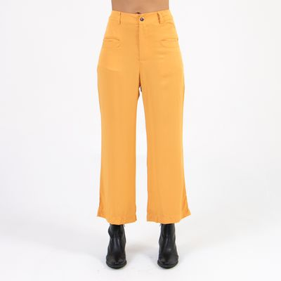 Calca-Pantacourt-Lady-Rock-Cintura-Alta-Amarelo-frente