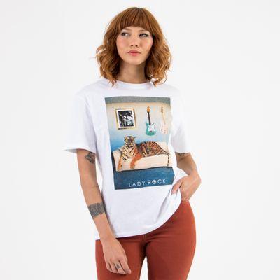 T-Shirt-Ampla-Lady-Rock-Feline-Frente