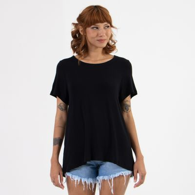 T-Shirt-Ampla-Lady-Rock-com-Abotoamento-Preto-Frente