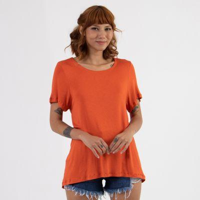T-Shirt-Ampla-Lady-Rock-com-Abotoamento-Laranja-Frente
