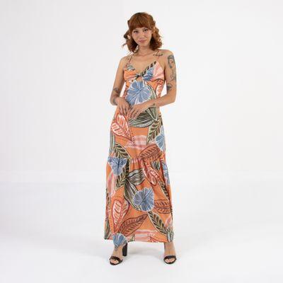 Vestido-Longo-Lady-Rock-Folhas-Laranja-Frente