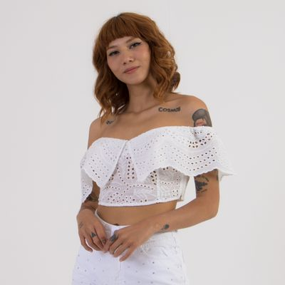 Blusa-Top-Laise-Lady-Rock-com-Babados-Off-White-Frente