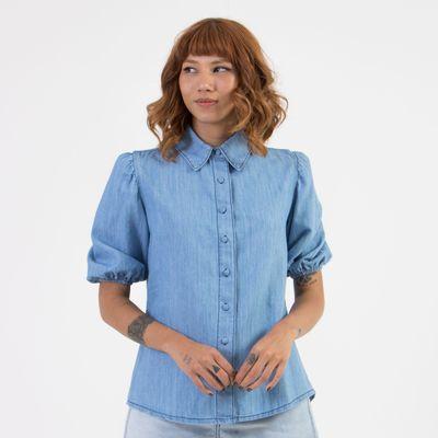 Camisa-Lady-Rock-com-Manga-Curta-Bufante-e-Botoes-Frente