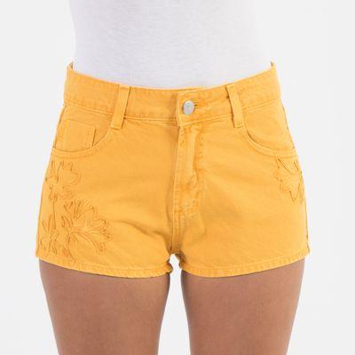 Short-Confort-Lady-Rock-com-Bordado-Amarelo-Frente