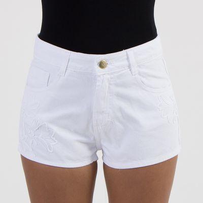 Short-Confort-Lady-Rock-com-Bordado-Off-White-Frente