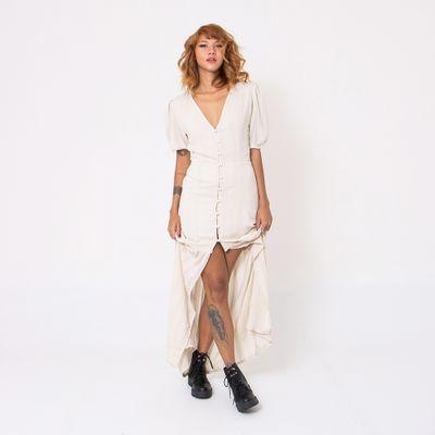 Vestido-Longo-Lady-Rock-com-Mangas-Bufantes-e-Botoes-Creme-Frente
