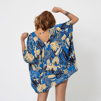 Kimono-Lady-Rock-Azul-Folhagens-Costas