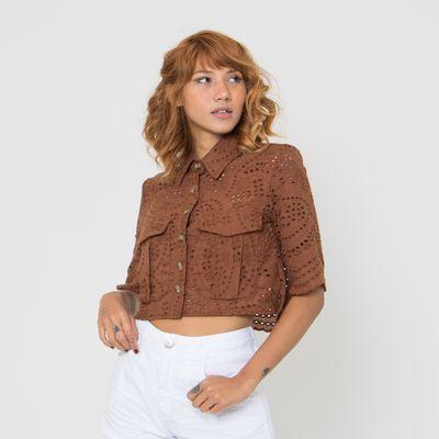 Camisa-Cropped-de-Laise-Lady-Rock-com-Botoes-Marrom-Frente
