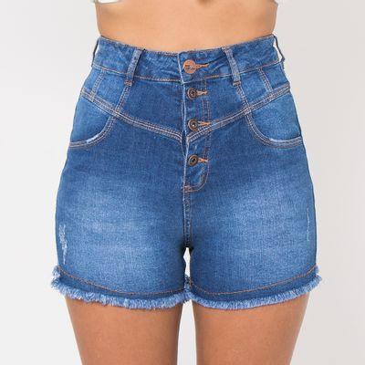 Short-Hot-Pants-Lady-Rock-com-Recortes-Frontais-Lavagem-Media-Frente