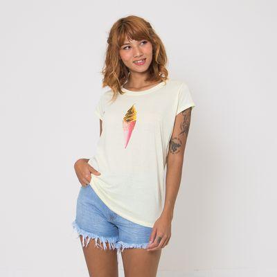T-Shirt-Lady-Rock-Sorvete-Amarela-Frente