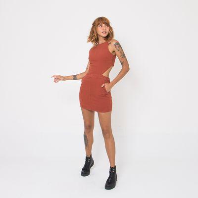 Vestido-Mini-Lady-Rock-com-Abertura-nas-Costas-Marrom-Frente