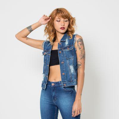 Colete-Jeans-Medio-Lady-Rock-Lavagem-Escura-Destroyed-Frente