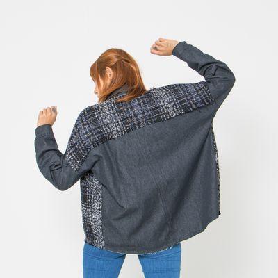 Jaqueta-Ampla-Lady-Rock-com-Tweed-Preta-Frente