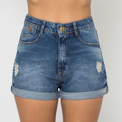 Short-Hot-Pants-Lady-Rock-com-Barra-Dobrada-Lavagem-Media-Frente