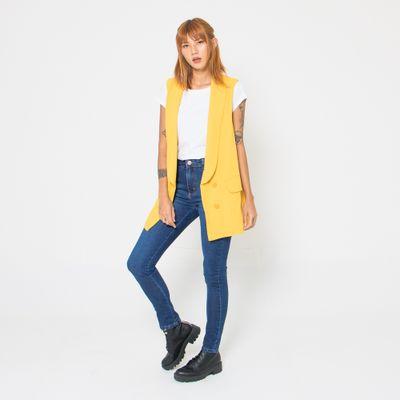 Colete-Maxi-de-Linho-Lady-Rock-Amarelo-Frente