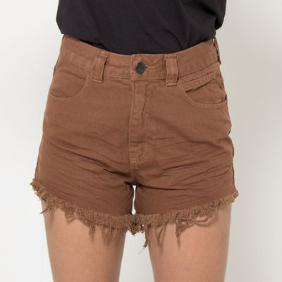Short-Hot-Pants-Lady-Rock-Color-Marrom-Frente