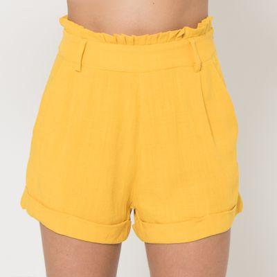 Short-Clochard-Lady-Rock-Linho-Amarelo-Frente