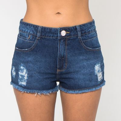 Short-Confort-Lady-Rock-Jeans-Escuro-Destroyed-Frente