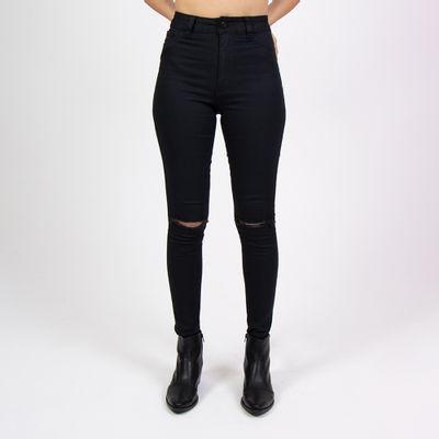 Calca-Hot-Pants-Lady-Rock-Preta-Classic-Rasgo-nos-Joelhos-Frente
