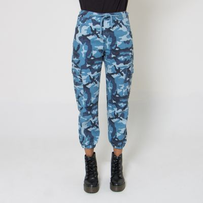 Calca-Cargo-Lady-Rock-Camuflada-Blue-Arms-Frente