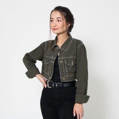 Jaqueta-Cropped-Lady-Rock-Verde-Militar-com-Bolsos-Frontais-Frente