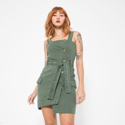 Vestido-Curto-Lady-Rock-Verde-Militar-Frente