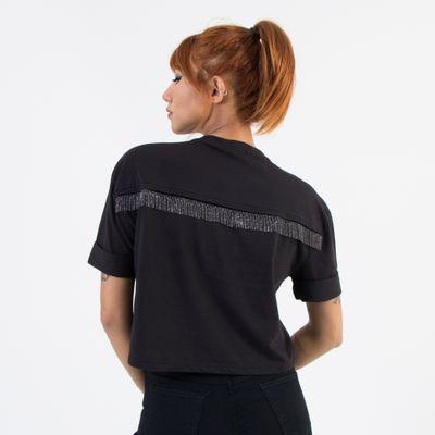 T-Shirt-Cropped-Lady-Rock-com-Aplicacao-de-Franjas-Preto-Costas