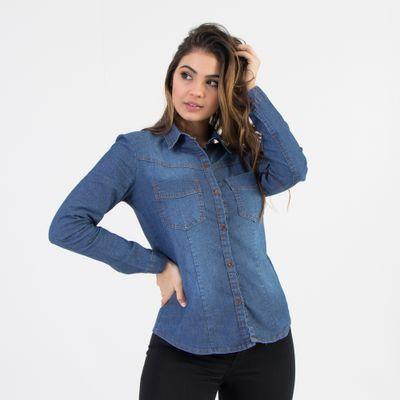 Camisa-Tradicional-Lady-Rock-Lavagem-Escura-Frente