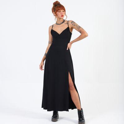 Vestido-Longo-com-Fenda-Lady-Rock-Preto-Frente