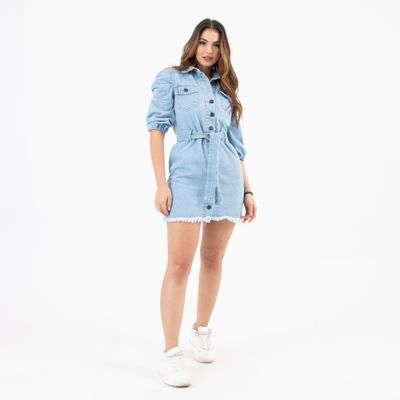Vestido-Jeans-Manga-Bufante-Lavagem-Clara-Lady-Rock-Frente