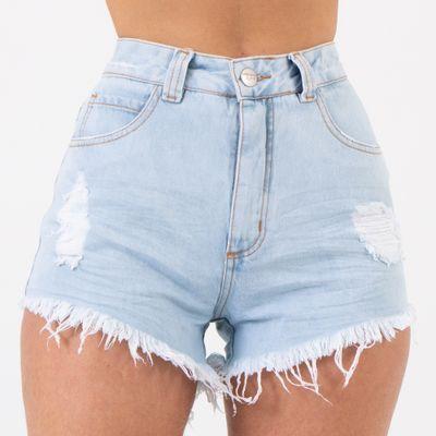 Short-Jeans-Cintura-Alta-Lavagem-Clara-Destroyed-Lady-Rock-Frente