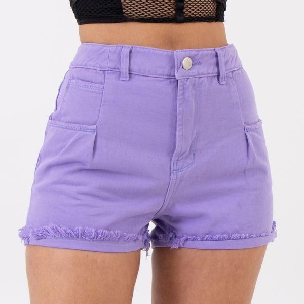 Short-Hot-Pants-com-Bolsos-Frontais-e-Pregas-Violeta-Frente