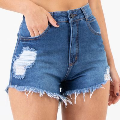 Short-Hot-Pants-Lady-Rock-Jeans-Escuro-com-Puidos-Frente