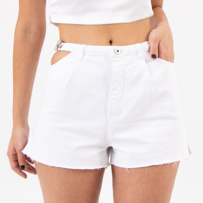 Short-Hot-Pants-Fivela-Lateral-Branco-Lady-Rock-Frente