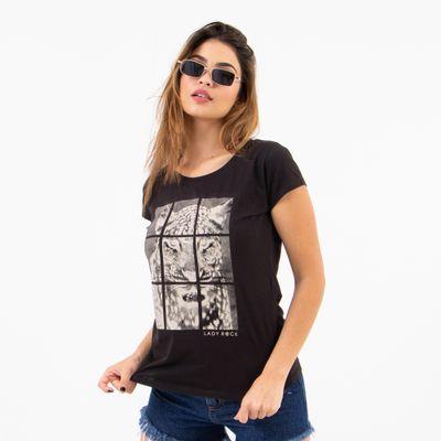 T-Shirt-Justa-Leopardo-Preta-Lady-Rock-Frente