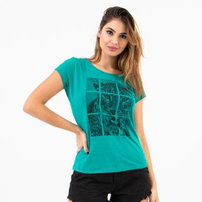 T-Shirt-Justa-Leopardo-Verde-Lady-Rock-Frente