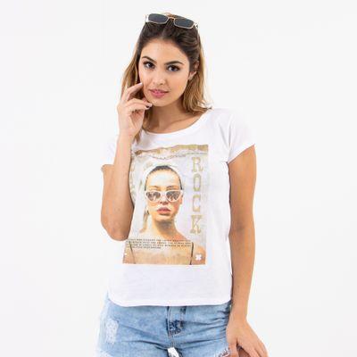 T-Shirt-Justa-Sunglasses-Branca-Lady-Rock-Frente