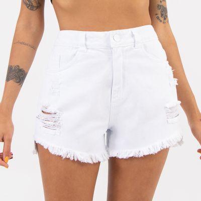 Short-Cintura-Alta-com-Barra-Degrau-Branco-Lady-Rock-Frente