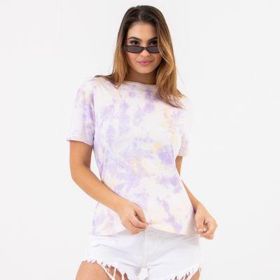 T-Shirt-Tie-Dye-Lilas-e-Amarelo-Lady-Rock-Frente