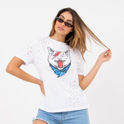 T-Shirt-Gato-Rocker-Branca-Lady-Rock-Frente