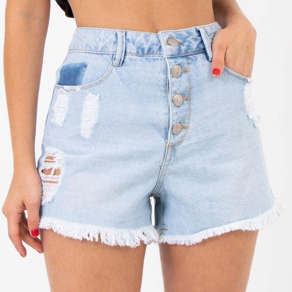 Short-Cintura-Alta-com-Botoes-Frontais-Lavagem-Clara-Lady-Rock-Frente