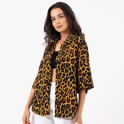 Camisa-Manga-Curta-Animal-Print-Amarelo-Frente
