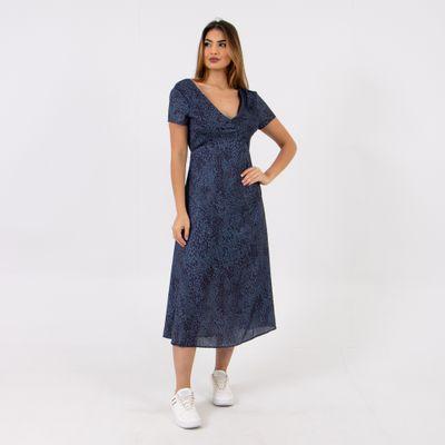 Vestido-Midi-de-Mini-Onca-Azul-Lady-Rock-Frente
