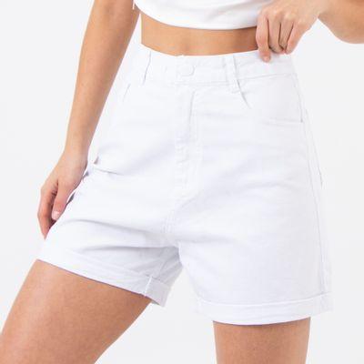 Short-Cintura-Alta-Branco-com-Bolsos-Diferenciados-Lady-Rock-Frente