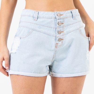 Short-Cintura-Alta-com-Recortes-Lavagem-Clara-Destroyed-Lady-Rock-Frente