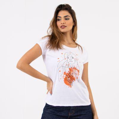 T-Shirt-Elementos-Fire-Branca-Lady-Rock-frente