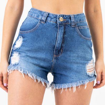 Short-Jeans-Cintura-Alta-Lavagem-Media-Lady-Rock-Frente
